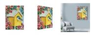 """Trademark Global Laurie Korsgaden 'Blue Bird Pink Flowers' Canvas Art - 35"""" x 47"""""""