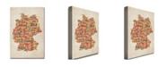 "Trademark Global Michael Tompsett 'Germany - Cities Text Map' Canvas Art - 24"" x 16"""