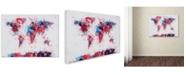 "Trademark Global Michael Tompsett 'Paint Splashes World Map' Canvas Art - 32"" x 22"""