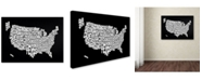 "Trademark Global Michael Tompsett 'BLACK-USA States Text Map' Canvas Art - 47"" x 30"""