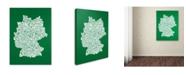 "Trademark Global Michael Tompsett 'FOREST-Germany Regions Map' Canvas Art - 24"" x 16"""