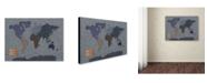 "Trademark Global Michael Tompsett 'Denim World Map' Canvas Art - 24"" x 16"""