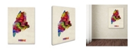 """Trademark Global Michael Tompsett 'Maine Map' Canvas Art - 32"""" x 24"""""""
