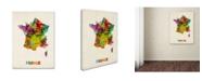 "Trademark Global Michael Tompsett 'France Watercolor Map' Canvas Art - 47"" x 35"""