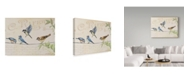 """Trademark Global Jean Plout 'Three Birds On Wire' Canvas Art - 14"""" x 19"""""""