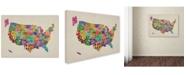 "Trademark Global Michael Tompsett 'USA States Text Map' Canvas Art - 14"" x 19"""