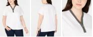 Tommy Hilfiger Plus Size Piqué Henley T-Shirt, Created for Macy's