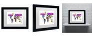 "Trademark Global Michael Tompsett 'Paint Splashes Text Map of the World III' Matted Framed Art - 14"" x 11"""