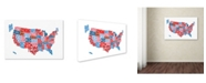"Trademark Global Michael Tompsett 'United States Typography Text Map' Canvas Art - 12"" x 19"""