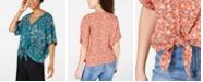 Hippie Rose Juniors' Printed Tie-Waist Blouse