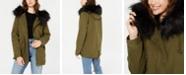 Jou Jou Juniors' Leopard-Print Faux-Fur-Trim Hooded Jacket