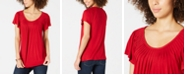 Style & Co Petite Flutter-Sleeve Pintucked Top, Created for Macy's