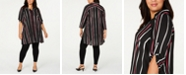 Alfani Plus Size Striped Button-Front Tunic, Created for Macy's