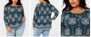 Style & Co Plus Size Printed Lace-Up Top, Created for Macy's