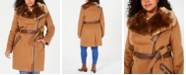 Via Spiga Plus Size Asymmetrical Belted Faux-Fur-Collar Coat, Created For Macy's