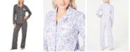 Charter Club Soft Brushed Cotton Button-Front Top & Bottoms Pajamas Set, Created For Macy's
