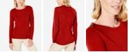 Karen Scott Petite Button-Shoulder Sweater, Created for Macy's