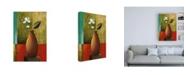 "Trademark Global Pablo Esteban Flower in Vase with Squares Canvas Art - 27"" x 33.5"""