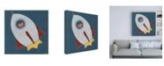 "Trademark Global June Erica Vess Monkeys in Space II Canvas Art - 15.5"" x 21"""