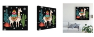 "Trademark Global Mary Urban Lovely Llamas Ii Christmas Black Canvas Art - 27"" x 33"""