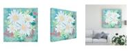 "Trademark Global Leslie Mark Daisy Patch Teal I Canvas Art - 15"" x 20"""