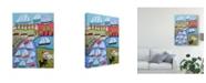 """Trademark Global Karen Fields Dogs and Sailboats Canvas Art - 37"""" x 49"""""""