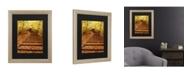 """Trademark Global Kurt Shaffer Fall Stairway Matted Framed Art - 37"""" x 49"""""""