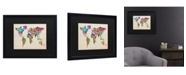 "Trademark Global Michael Tompsett Typography World Map II Matted Framed Art - 15"" x 20"""