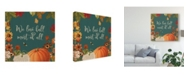 "Trademark Global Katie Pertiet Fall Garden Ii Teal Canvas Art - 27"" x 33"""