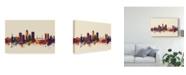 "Trademark Global Michael Tompsett Jacksonville Florida Skyline III Canvas Art - 15"" x 20"""