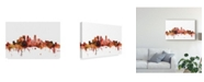 "Trademark Global Michael Tompsett Minneapolis Minnesota Skyline Red Canvas Art - 20"" x 25"""