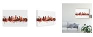 "Trademark Global Michael Tompsett Plymouth England Skyline Red Canvas Art - 37"" x 49"""