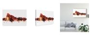 """Trademark Global Michael Tompsett Gibraltar Skyline Red Canvas Art - 20"""" x 25"""""""