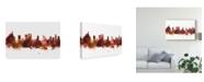 """Trademark Global Michael Tompsett Rio De Janeiro Skyline Brazil Red Canvas Art - 20"""" x 25"""""""