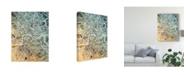 "Trademark Global Michael Tompsett London England Street Map Teal Orange Canvas Art - 15"" x 20"""