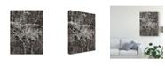 "Trademark Global Michael Tompsett Iowa City Map Black Canvas Art - 20"" x 25"""