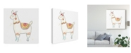 "Trademark Global June Erica Vess Block Print Llama II Canvas Art - 20"" x 25"""