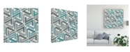"Trademark Global June Erica Vess Teal Tile Collection II Canvas Art - 20"" x 25"""