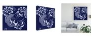 "Trademark Global Vision Studio Indigo Carp Katagami I Canvas Art - 15"" x 20"""