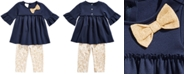 First Impressions Baby Girls 2-Pc. Ponté-Knit Tunic & Printed Leggings Set, Created for Macy's