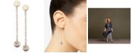 DKNY Gold-Tone Crystal & Logo Linear Drop Earrings