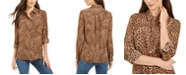 Charter Club Petite Printed Roll-Tab-Sleeve Top, Created for Macy's