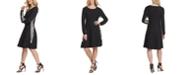 DKNY Leopard Print-Trimmed Sweater Dress