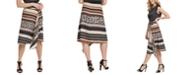 DKNY Mixed-Print Asymmetrical Skirt