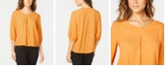 NY Collection Petite Pintucked 3/4-Sleeve Top