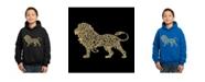 LA Pop Art Boy's Word Art Hoodies - Lion