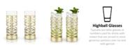 Viski Belmont Crystal Patterned Highball Glasses