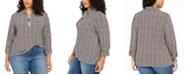 Tommy Hilfiger Plus Size Plaid Zip-Neck Top