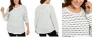 Karen Scott Plus Size Textured Striped Cotton Top, Created For Macy's