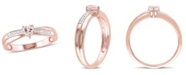 Delmar Morganite (1/4 ct.t.w) and Diamond (1/20 ct. t.w.) Heart Ring in 18k Rose Gold Over Silver